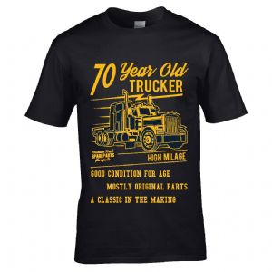 Premium Funny 70 Year Old Trucker Classic Truck Motif For 70th Birthday Anniversary gift t-shirt